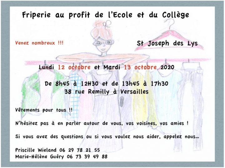Friperie au profit de l'école et du collège (12 et 13 octobre 2020)